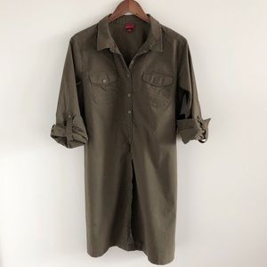 Merona 100% Cotton Olive Green Shirt Dress L